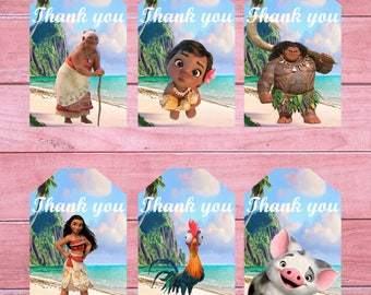 80% OFF SALE Moana thank you tag moana thank you moana tags thank you tags moana favor tags princess moana moana printable moana tag Moana