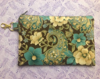 "Brown Teal Gold Floral Zipper Pouch ~ 8"" x 5.5"" Fabric Zipper Case ~ Polka Dot Lining ~ Gold Glitter ~ Makeup Pouch ~ Pencil Pouch"