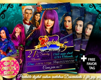 Descendants 2 Digital  Printable invitation, Custom Party Descendants ,Birthday,Party, Supply, Kit, Pack, Custom, Free Favor Tag