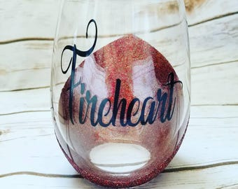 Fireheart wine glass based off the Throne of Glass series by Sarah j MAAS, Aelin, Queen of Shadows, Empire of Storms, Celaena Sardothien