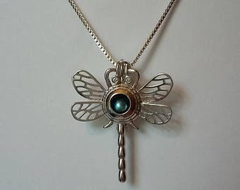 Sterling Silver Dragonfly Pendant Cage Necklace for Pearl
