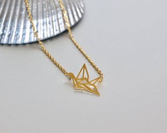Gold Crane Charm Necklace, Gold Charm, Gold Dipped Necklace, Minimalist Necklace, Delicate Chain Necklace,Gift Necklace (SS98)