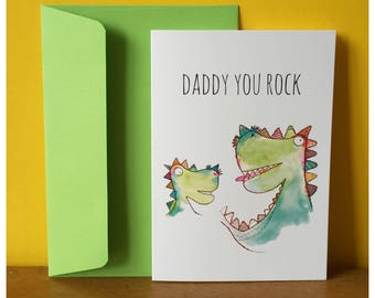Daddy you rock greeting card