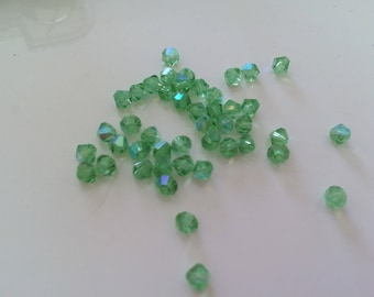 Set of 50 toupi Crystal 4 mm Green water
