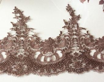 Brown yarn guipure with glued rhinestones shiny