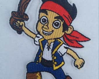 Jake and the Neverlands pirates iron on inspired embroidery patch, Jake birthday party inspired applique