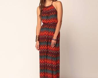 Red Chevron Maxi Dress, Printed Missoni Inspired Maxi Dress, Chevron Dress, Gifts For Her, S M L XL Made in USA