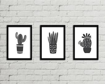 SET OF 3 Cactus Print - Succulent Print Set - Cactus Print - Cactus Art - Succulent Wall Art - Plant Print - Wall Decor Poster