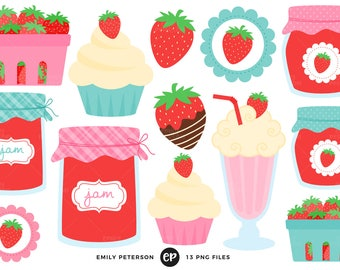 50% OFF SALE! Strawberry Clip Art, Strawberries Clipart, Strawberry Farm Clip Art - Commercial Use, Instant Download - V1