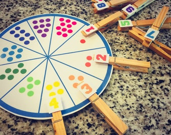 Number 1-10 Matching Educational Printable Math Wheel Game