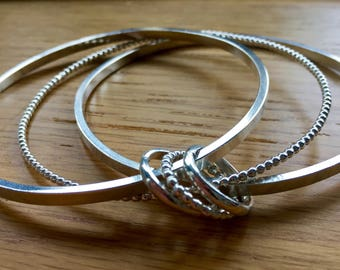 Stunning Triple silver bangle, Beaded bangle, square bangle, silver bangle, Sterling silver triple bangle,  inch bangle, handmade bangle