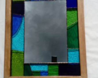 Stained glass mirror, green and blue assortment. (70x55cm)