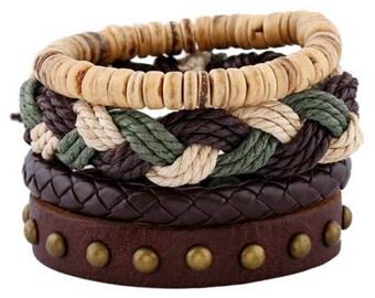 Leather Bracelet For Men and Women Bracelet Gift Combination Bracelet Adjustable Bracelet Gift for Men, Girlfriend Gift, Boyfriend Gift