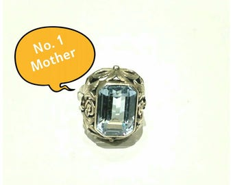 Large Vintage Blue Topaz Sterling Silver Cocktail Ring Jewelry (200)