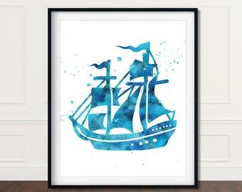 Pirate Ship Decor, Pirate Ship Print, Pirate Ship Art, Pirate Ship Artwork, Pirate Ships, Nautical Print Decor, Nautical Nursery, Digital
