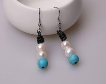 Stainless Steel White Freshwater Pearls Dangle Earring,Drop Earrings,Hook Girls Jewelry,Blue Turquoise Stone Earrings,Handmade Black Leather