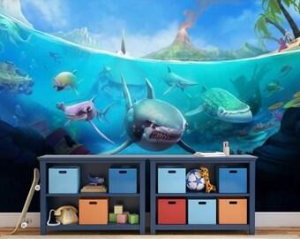 underwater wallpaper, underwater wall mural, underwater wall decal, shark wallpaper, ocean life wallpaper, tropical sea wallpaper, kids