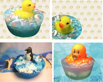 Duck Soap, Penguin Soap or Octopus Soap. Kids Soap with a toy. Party Favor, Baby Shower Gift, BirthdayGift. 1 Bar of Soap.You pick.