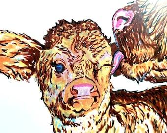 Bathtime Highland Cows Illustration -  art print modern style