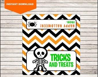 Skull Halloween Bag Toppers - Halloween Birthday Bag Toppers - Halloween Bag Labels - Halloween Treat Bags - Halloween Treat tags