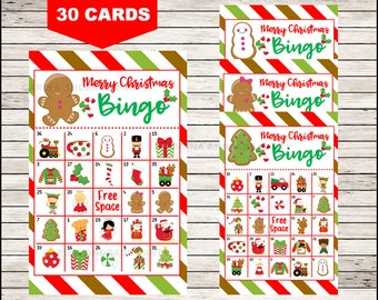 Printable 30 Christmas Bingo Cards; printable Christmas Bingo game, Christmas printable bingo cards instant download