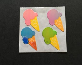 Sandylion vintage rare shiny ice cream cone stickers