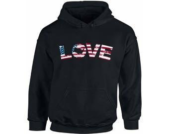 Love USA Flag Patriotic Hoodie  Hooded Sweatshirt USA Stars and Stripes American 4th of July