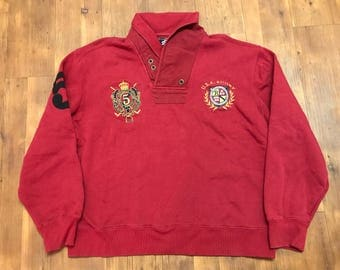 USA Rugby sweater double collar henley style Burgundy and gold stripes Patches 2XL Rare special edition