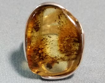 Genuine Baltic Amber with Adjustable Sterling Silver Band