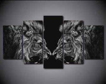 Lion Canvas Art, Lion Wall Art, Lion Reflex Canvas Print, Lion 5 Piece