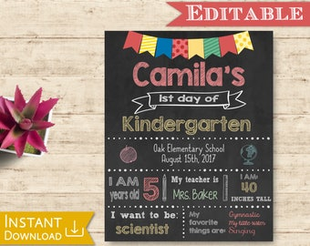 First day of School Sign Editable Chalkboard Unisex Back to School 1st day of School, DIY Printable Photo, Primary colors, Flags