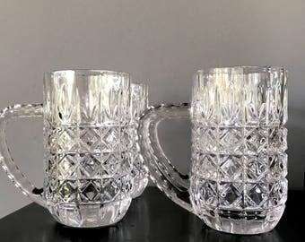 Crystal Beer Steins, Crystal Beer Mugs, Crystal Barware, Vintage, Glassware, Beer Mug, Beer Stein, Vintage Barware, Mid Century, Bar Cart