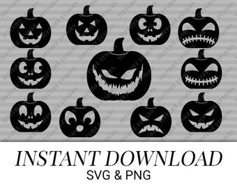 Set of 11 Jack-o-lanterns - SVG, PNG