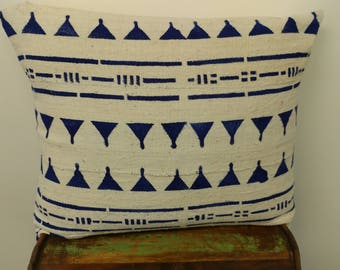 New Bright Blue and White Mudcloth Print Pillow Cover