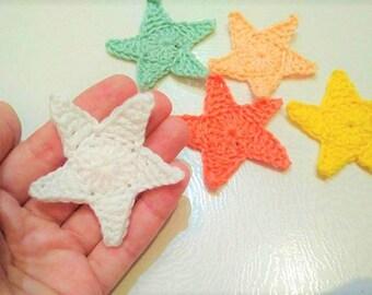 1pc  Crochet STAR Applique/ Scrapbooking Crocheted