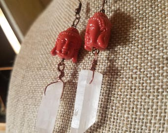 Clear Quartz Buddha Dangle Earrings