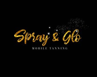 Tanning logo,spray tan logo,tanning shop logo,glitter logo,gold logo,sparkle logo,glow logo,mobile tanning logo,spray tanning shop branding