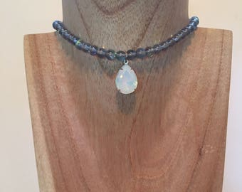 Beaded Moonstone Crystal Choker
