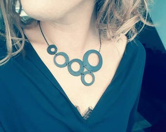 Bubble necklace made with recycled tractor inner