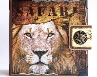 African Safari Scrapbook Album, Africa Photo Album, Safari Travel Album, African Animals, Travel Scrapbook, Africa Travel Gift, Safari Gift