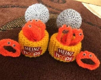 Hand knitted SPAGHETTI HOOPS/Knitted toys/play food/display