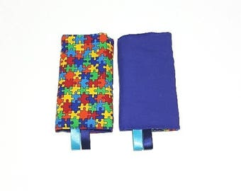Straight drool pads Colorful Jigsaw Puzzle with Solid Blue in reverse (Ready to ship) Fits most baby carrier