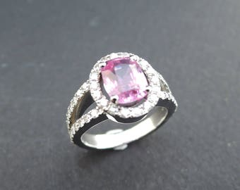 Beautiful pink sapphire ring and diamonds.