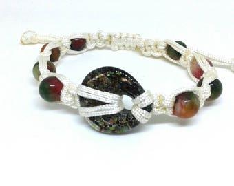 Czech glass bead macrame bracelet