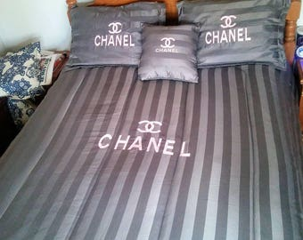 Chanel inspired 4pc bedset (Queen size)