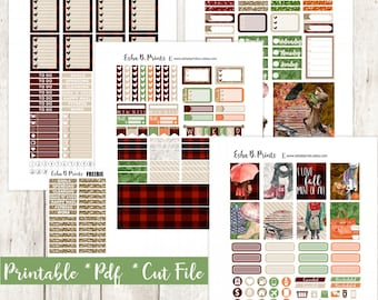 Falling For Fall Printable Planner Stickers/Weekly Kit/For Use With Erin Condren/Cutfiles Fall Harvest Sweater Weather Glam Umbrella Crisp