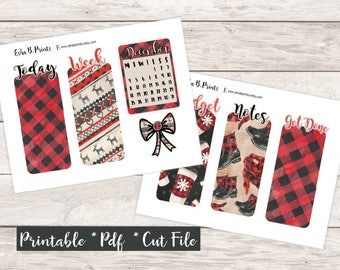 Sweater Weather Printable Pocket Travelers Notebook Bookmark/Monthly Kit/TN/Winter December Buffalo Plaid Die Cut Calendar Bow Coffee