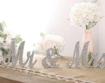 Large Vintage Silver Glitter Mr and Mrs Signs for Wedding Sweetheart Table Decor/Mr and Mrs Letters/Mr and Mrs Wooden Sign/Ship From USA