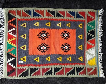 Hand woven Wall hanging Decoration Kilim weave. Hand made Turkish kilim mat. Handwoven tapestry mat. Sivas Sarkisla yastik.