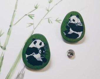 panda love wood art earrings